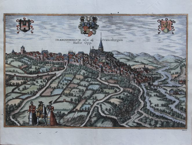 Old map of Frankenberg on the Eder by Braun and Hogenberg, 1581