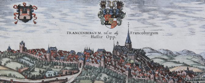 Old map of Frankenberg on the Eder (detail) by Braun and Hogenberg, 1581