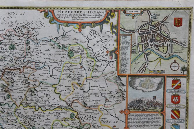 Old map of Herefordshire (detail of city) by John Speed, 1676