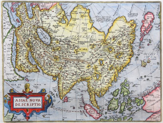 Old 16th century map of Asia by Ortelius, published in his Theatrum Orbis Terrarum in 1598 (Dutch edition)