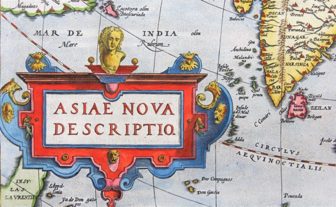 Old 16th century map of Asia (cartouche) by Ortelius, published in hs Theatrum Orbis Terrarum in 1598 (Dutch edition)