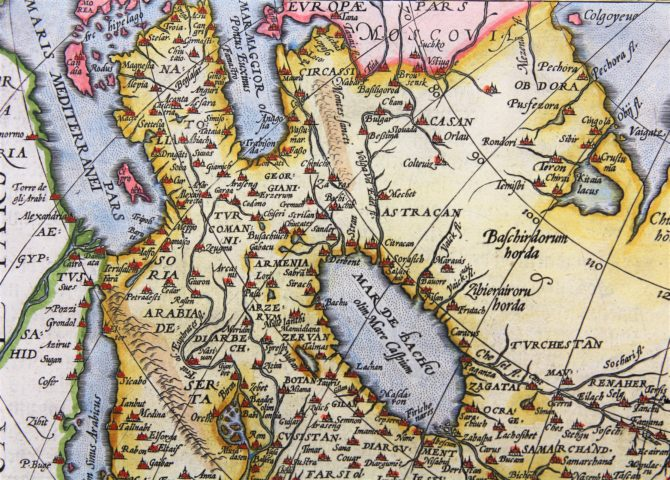 Old 16th century map of Asia (detail of the Caspian Sea) by Ortelius, published in his Theatrum Orbis Terrarum in 1598 (Dutch edition)