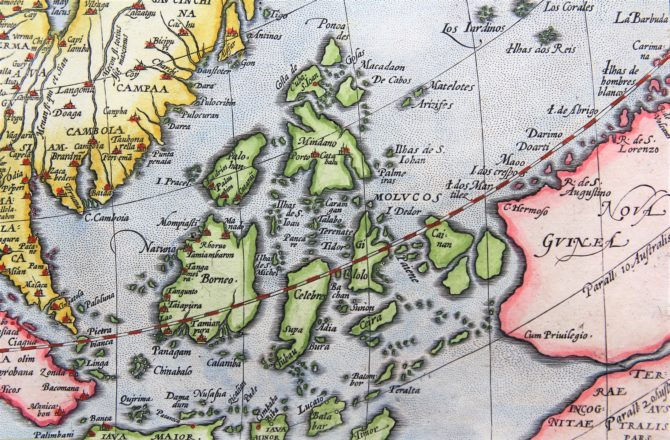 Old 16th century map of Asia (detail of the Philippines) by Ortelius, published in his Theatrum Orbis Terrarum in 1598 (Dutch edition)