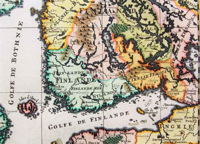 Old map of Scandinavia and the Baltics (details Finland) by Henri Chatelain, 1719, Atlas Historique