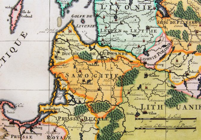 Old map of Scandinavia and the Baltics (detail Baltics) by Henri Chatelain, 1719, Atlas Historique
