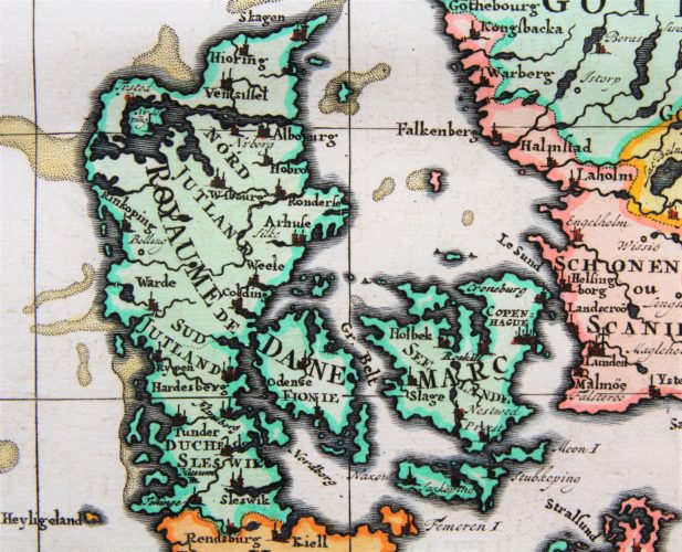 Old map of Scandinavia and the Baltics (detail Denmark) by Henri Chatelain, 1719, Atlas Historique