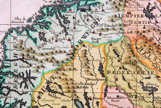 Old map of Scandinavia and the Baltics (detail Norway) by Henri Chatelain, 1719, Atlas Historique