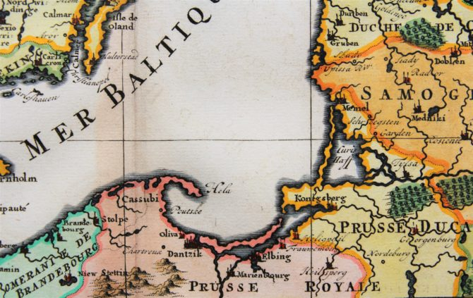Old map of Scandinavia and the Baltics (detail Koenisgsberg) by Henri Chatelain, 1719, Atlas Historique