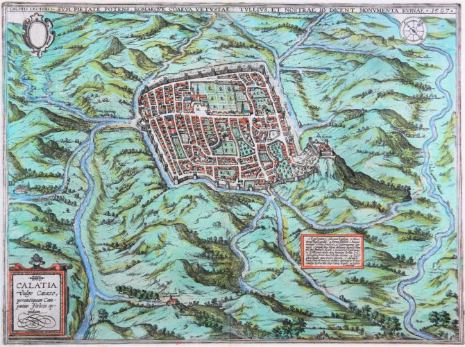 old map (16th century of Caiazo (Campania) by Braun and Hogenberg (1596/1598)