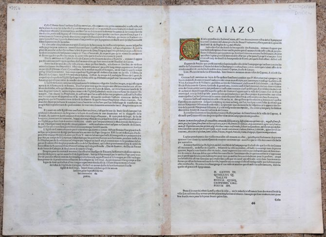 old map (16th century of Caiazo (Campania) (verso) by Braun and Hogenberg (1596/1598)