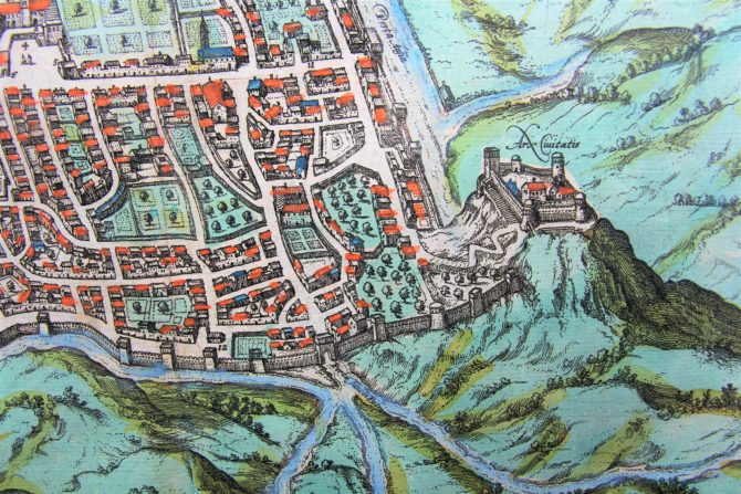 old map (16th century of Caiazo (Campania) (detail 1) by Braun and Hogenberg (1596/1598)