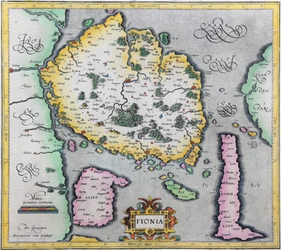 Old map of Fyn (Funen, Denmark) made by Mercator, published by Jodocus Hondius