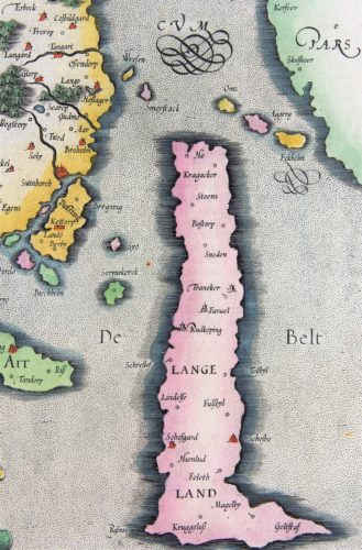 Old map of Fyn (Funen, Denmark) (detail of Lange Land) made by Mercator, published by Jodocus Hondius