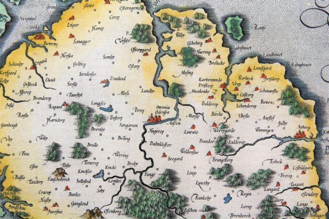 Old map of Fyn (Funen, Denmark) (detail of the island with Odense) made by Mercator, published by Jodocus Hondius