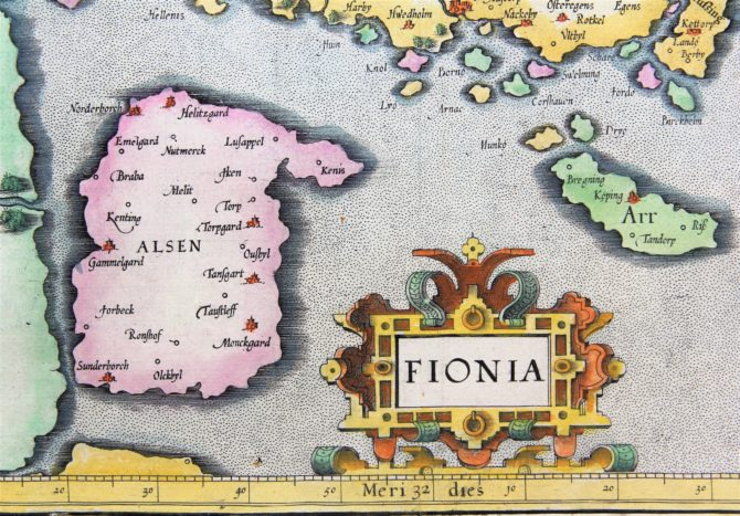 Old map of Fyn (Funen, Denmark) (detail of Alsen and Ait) made by Mercator, published by Jodocus Hondius