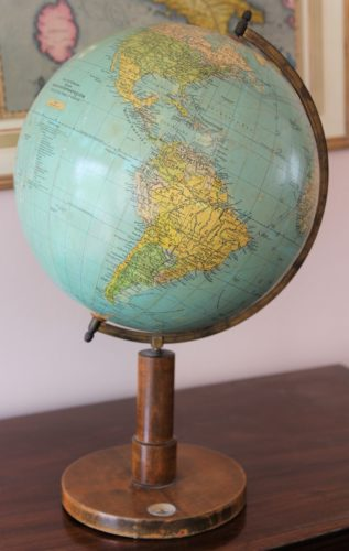 Old globe in Dutch (33 cm diameter) by Prof Dr A Krause, ca 1930 (detail South Amreica)