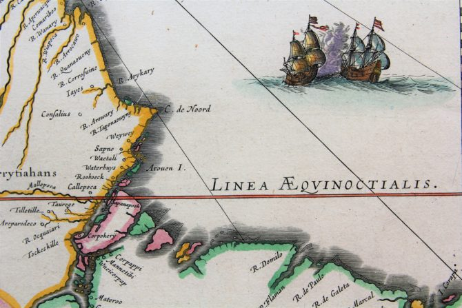 Old map of Guyana with Trinidad and Tobago, Suriname and the mouth of the Amazon River (detail) by Willem Blaeu (17th century)