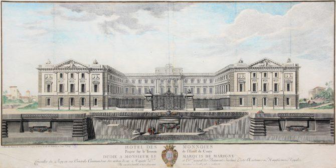 Old large view of the Paris Mint (Hotel des Monnoies) by Claude Poulleau, ca. 1780