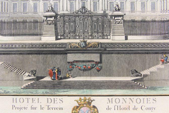 Old large view of the Paris Mint (Hotel des Monnoies) (detail) by Claude Poulleau, ca. 1780
