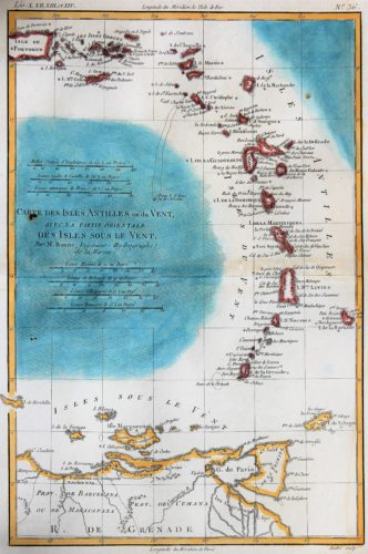 Old 18th century map of The Antilles by Rigobert Bonne