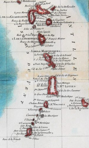 Old 18th century map of The Antilles by Rigobert Bonne (detail of Windward Islands)