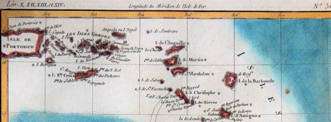 Old 18th century map of The Antilles by Rigobert Bonne (Detatail of Leeward islands)l of