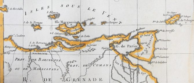 Old 18th century map of The Antilles by Rigobert Bonne (detail of Trinidad and Tobago)