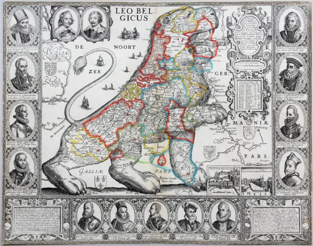 Unique and unrecorded map of the Leo Belgicus by C.J. Visscher, 1641