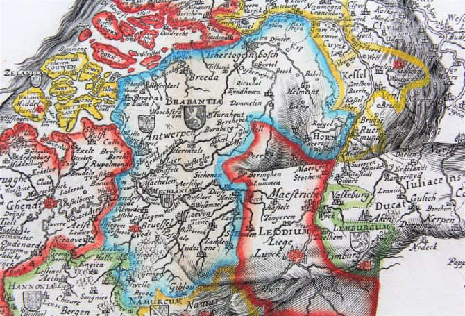 Unique and unrecorded map of the Leo Belgicus by C.J. Visscher, 1641 (detail of Brabant)