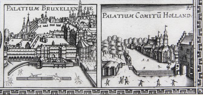 Unique and unrecorded map of the Leo Belgicus by C.J. Visscher, 1641 (courts in Brussels and in The Hague)