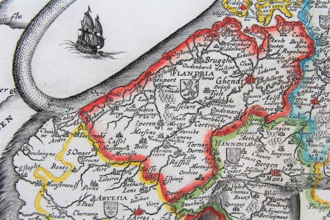 Unique and unrecorded map of the Leo Belgicus by C.J. Visscher, 1641 (detail of Flanders)