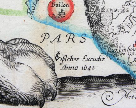 Unique and unrecorded map of the Leo Belgicus by C.J. Visscher, 1641; detail of date