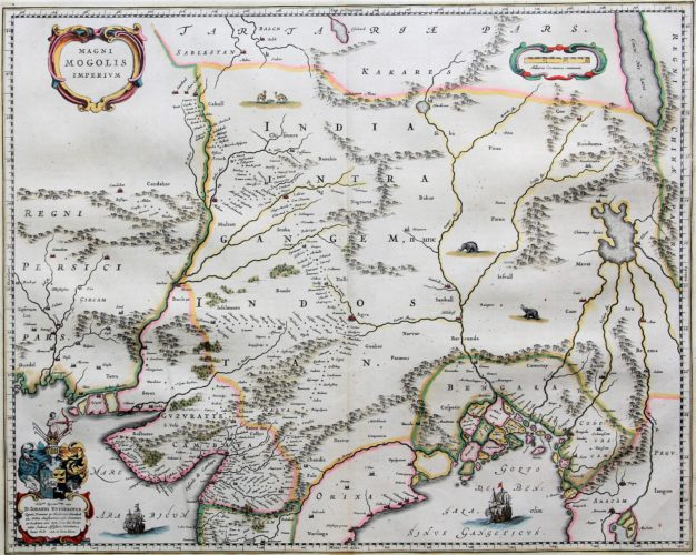 Old 17th century map of Mogol (Mughal) empire by Blaeu