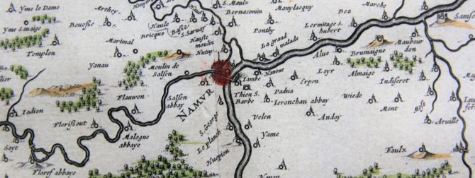 old map (17th century) of Duchy of Namur (detail of Namur) by Blaeu