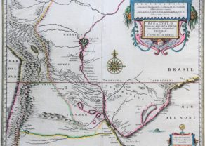 Old map of Paraguay Argentina and Uruguay by Willem Blaeu, 17th century