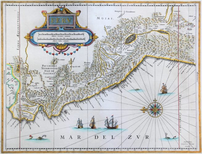 Old map (17th century) of Peru by Joan Blaeu