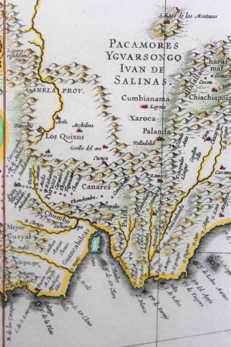 Old map (17th century) of Peru (detail 2) by Joan Blaeu