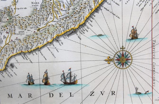 Old map (17th century) of Peru (detail coast) by Joan Blaeu