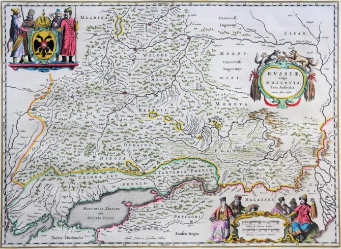 old map (17th century) of South Russia by Blaeu (Theatrum Orbis Terrarum)