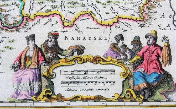 old map (17th century) of South Russia (scale bar) by Blaeu (Theatrum Orbis Terrarum)