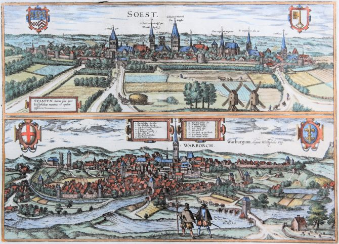 Old map (1With nice coloured initial6th century) of Soest and Warburg by Braun and Hogenberg, 1581/1584
