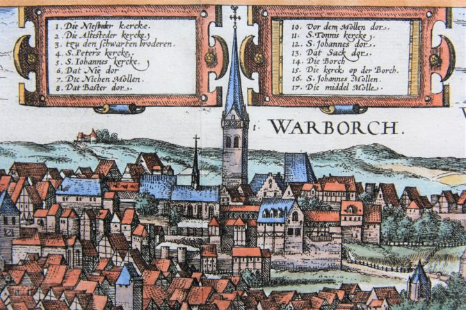 Old map (1With nice coloured initial6th century) of Soest and Warburg (zoom of Warburg) by Braun and Hogenberg, 1581/1584