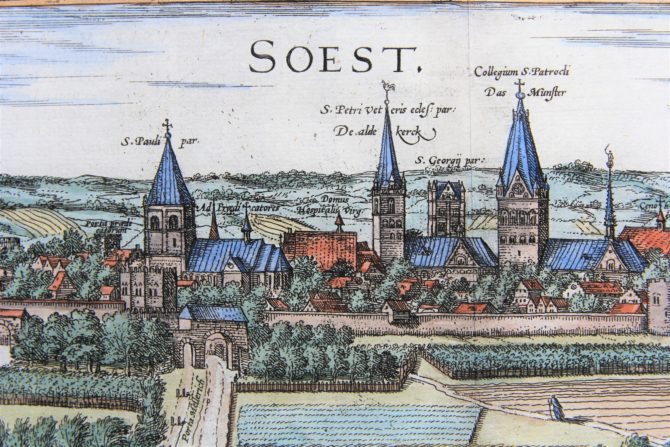 Old map (1With nice coloured initial6th century) of Soest and Warburg (zoom of Soest) by Braun and Hogenberg, 1581/1584