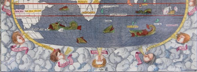Old 16th century world map (Typus orbis Universalis) by Münster, 1550 (detail south)
