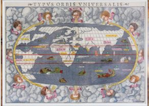 Old 16th century world map (Typus orbis Universalis) by Münster, 1550