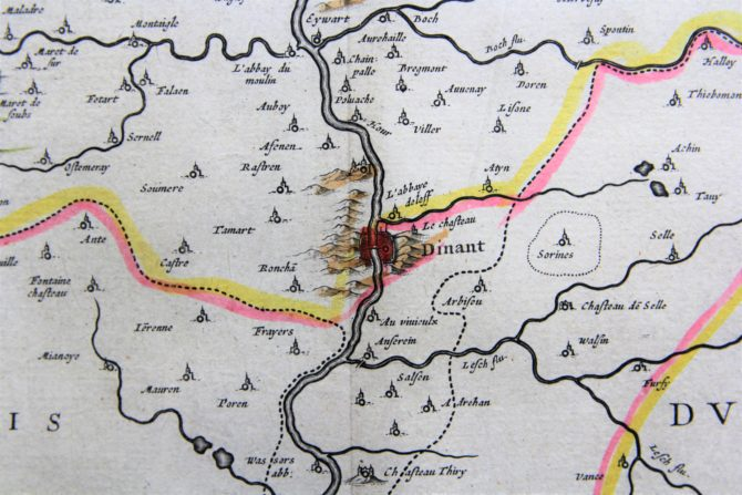 old map (17th century) of Duchy of Namur (detail of Dinant) by Blaeu