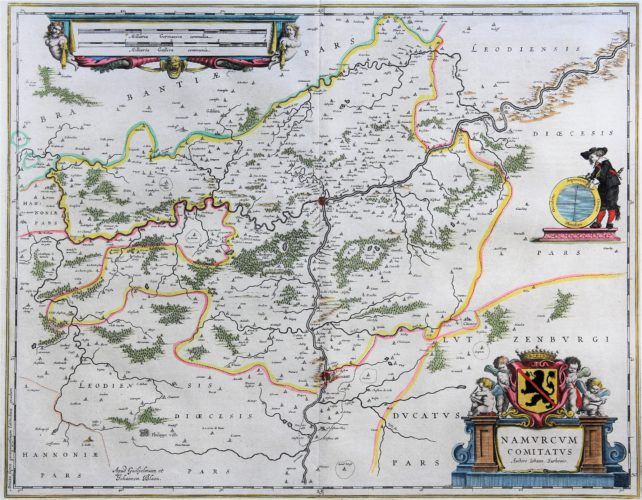 old map (17th century) of Duchy of Namur by Blaeu