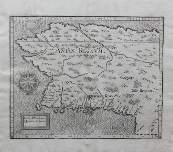 Old original map of Alaska and California by Wytfliet