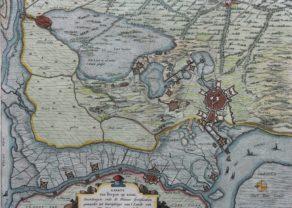 Old war map of the siege of Bergen-op-Zoom of 1622 by Blaeu