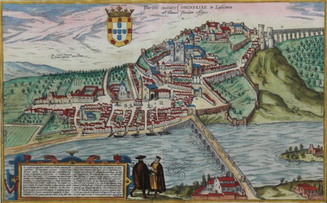 Old original map of Coimbra by Braun Hogenberg